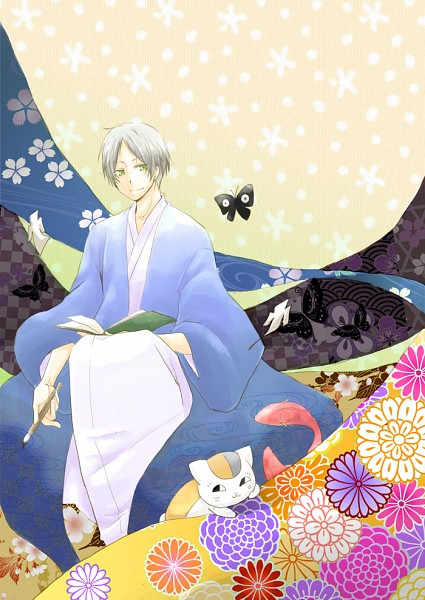 Tags: Anime, Pixiv Id 939741, Natsume Yuujinchou, Natsume Takashi, Nyanko-sensei, Pixiv, Mobile Wallpaper, Natsume's Book Of Friends