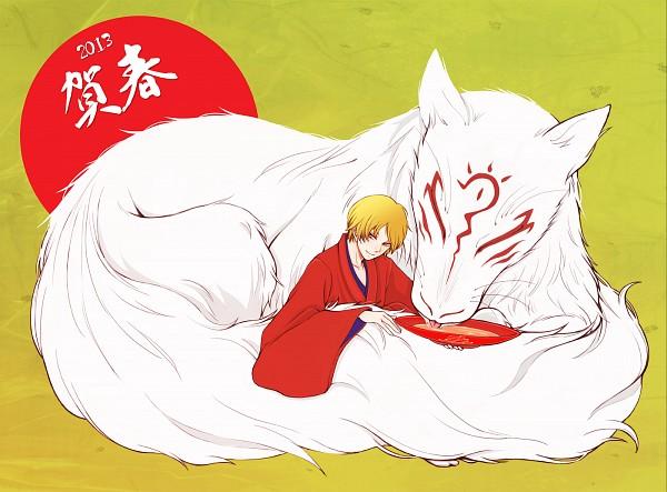 Tags: Anime, Pixiv Id 1028884, Natsume Yuujinchou, Madara, Natsume Takashi, Pixiv, Happy 2013, Natsume's Book Of Friends