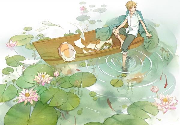 Tags: Anime, Pixiv Id 2855141, Natsume Yuujinchou, Natsume Takashi, Nyanko-sensei, Water Reflection, Lily Pads, Fanart, Fanart From Pixiv, Pixiv, Natsume's Book Of Friends