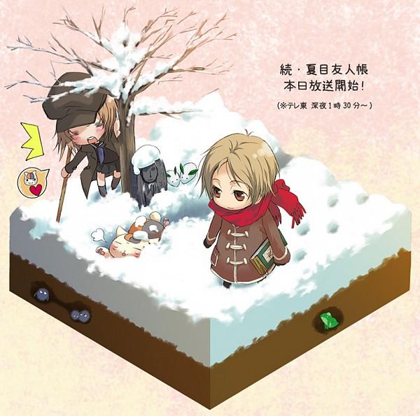 Tags: Anime, Pixiv Id 1656641, Natsume Yuujinchou, Taki Tooru, Natsume Takashi, Nyanko-sensei, Snow Rabbit, Pixiv, Fanart, Natsume's Book Of Friends