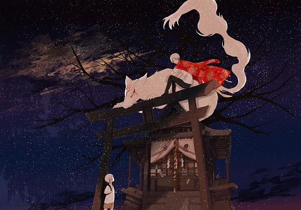 Tags: Anime, Okazaki Oka, Natsume Yuujinchou, Natsume Takashi, Nyanko-sensei, Madara, Shrine, Fanart, Pixiv, Natsume's Book Of Friends