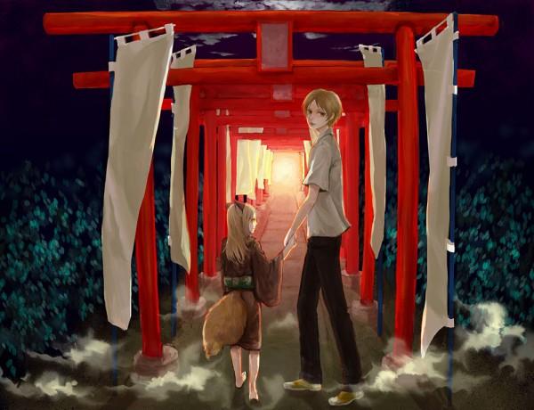 Tags: Anime, Kaihirow, Natsume Yuujinchou, Kogitsune, Natsume Takashi, Shrine, Banner, Pixiv, Fanart, Natsume's Book Of Friends