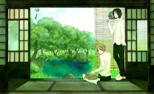 Tags: Anime, Pixiv Id 3036579, Natsume Yuujinchou, Nyanko-sensei, Tanuma Kaname, Natsume Takashi, Wind Chime, Fuurin, Tatami, Pixiv, Fanart, Natsume's Book Of Friends