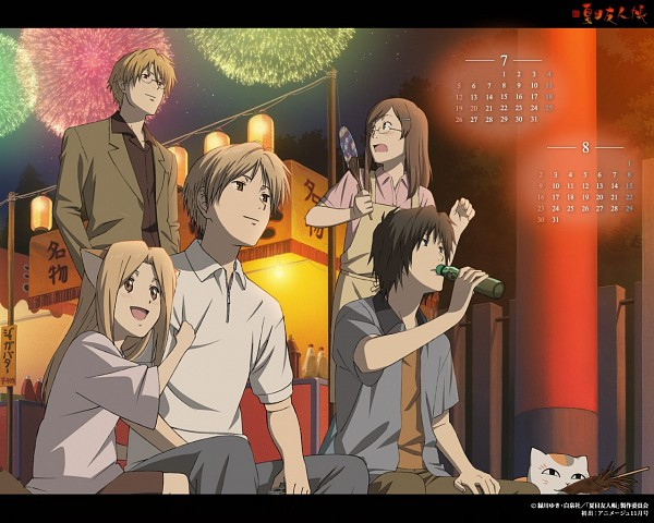 Tags: Anime, Natsume Yuujinchou, Natsume Takashi, Natori Shuuichi, Nyanko-sensei, Tanuma Kaname, Kogitsune, Sasada Jun, Calendar (Source), Official Art, Natsume's Book Of Friends