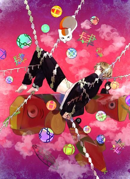 Tags: Anime, Kaihirow, Natsume Yuujinchou, Tanuma Kaname, Natsume Takashi, Nyanko-sensei, Mobile Wallpaper, Pixiv, Fanart, Natsume's Book Of Friends