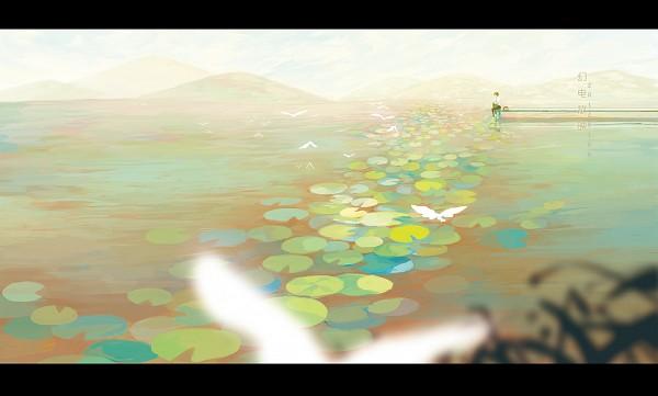 Tags: Anime, Sarnath, Natsume Yuujinchou, Natsume Takashi, Nyanko-sensei, Lonely, Lily Pads, Dock, Chinese Text, Fanart, Pixiv, Natsume's Book Of Friends