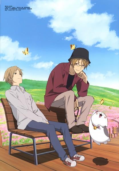 Tags: Anime, Hisagi Akitsugu, Natsume Yuujinchou, Nyanko-sensei, Natori Shuuichi, Natsume Takashi, Mobile Wallpaper, Scan, Official Art, Natsume's Book Of Friends