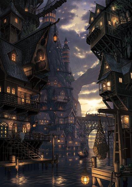 Tags: Anime, Nauimusuka, Tower, Brick Wall, Roof, Railroad Tracks, Boat, Bricks, Harbor, Net, Pixiv