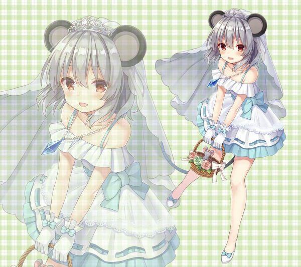Tags: Anime, nagisa3710, Touhou, Nazrin, Plaid Background, Fanart, Twitter