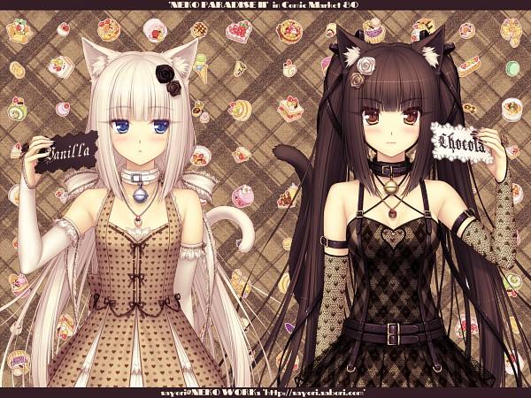 Tags: Anime, Sayori, Neko Works (Studio), NEKO PARADISE II, Neko Para, Vanilla (Neko Para), Chocola (Neko Para), Comic Market 80, Comic Market, Wallpaper, Pixiv