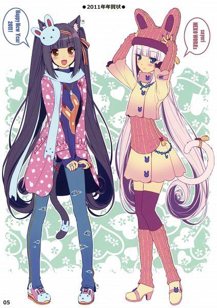 Tags: Anime, Sayori, NEKO PARADISE II, Neko Para, Vanilla (Neko Para), Chocola (Neko Para), Bunny Hat, Mobile Wallpaper, Happy 2011, Comic Market 80, Pixiv
