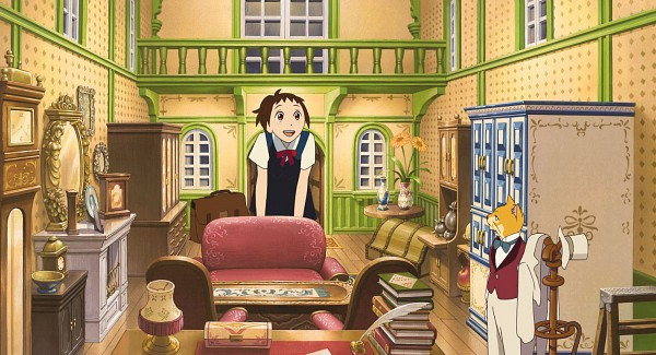 Tags: Anime, Studio Ghibli, Neko no Ongaeshi, Baron Humbert von Gikkingen, Yoshioka Haru, Facebook Cover, Screenshot, The Cat Returns