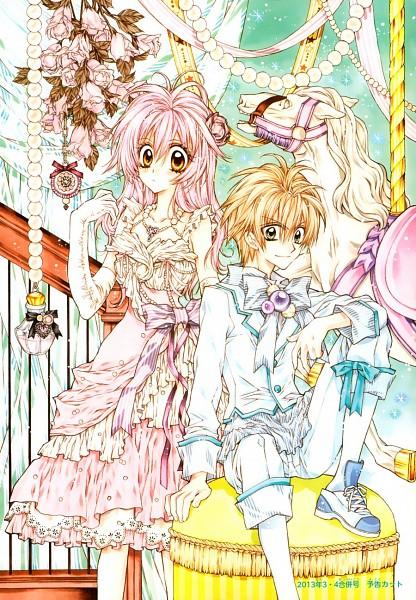 Tags: Anime, Tanemura Arina, Neko to Watashi no Kinyoubi, Tachibana Ai (NtWnK), Honjou Nekota, Gold (Metal), Carousel, Mobile Wallpaper