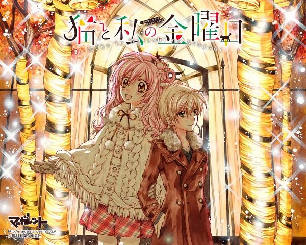 Tags: Anime, Tanemura Arina, Neko to Watashi no Kinyoubi, Tachibana Ai (NtWnK), Honjou Nekota, Orange (Color), Official Art, Scan, Wallpaper