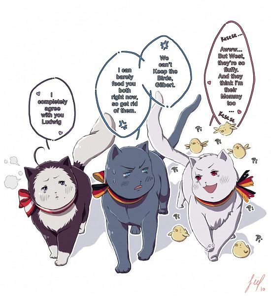 Tags: Anime, Pixiv Id 2689780, Axis Powers: Hetalia, Germancat, Gilbird, Austriacat, Prusscat, Flag Print, Nekotalia, Germanic Countries