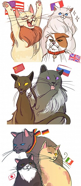 Tags: Anime, Axis Powers: Hetalia, The Story of the Seagull and the Cat Who Taught Her to Fly, Japancat, Russiacat, Francecat, Iggycat, Italycat, Americat, Germancat, Chinacat, Artist Request, Nekotalia