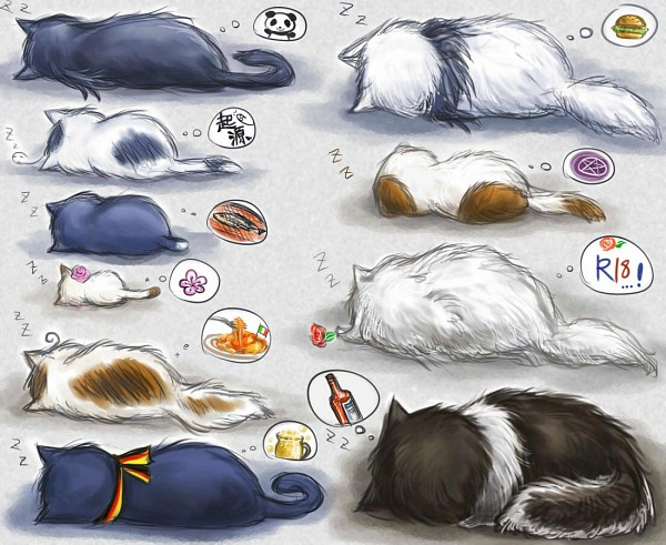 Tags: Anime, Pixiv Id 3056602, Axis Powers: Hetalia, Russia, Russiacat, South Korea, Germancat, China, Iggycat, Taiwancat, Chinacat, Japan, Japancat
