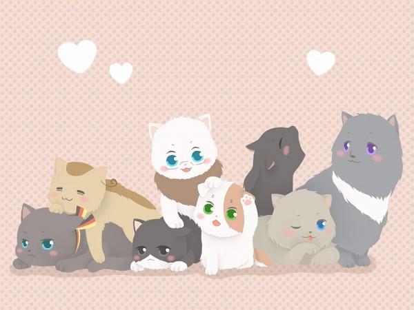 Tags: Anime, Pixiv Id 1788857, Axis Powers: Hetalia, Iggycat, Italycat, Americat, Germancat, Chinacat, North Italy, Japancat, Russiacat, Francecat, Nekotalia