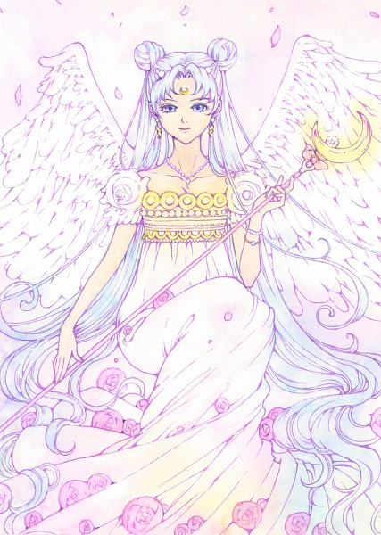 Tags: Anime, Pixiv Id 317391, Bishoujo Senshi Sailor Moon, Neo-Queen Serenity, Tsukino Usagi, Silver Crystal, Moon Stick, Mobile Wallpaper, Pixiv, Fanart
