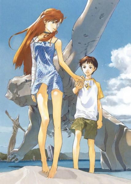 Tags: Anime, Okazaki Takeshi, Neon Genesis Evangelion, Die Sterne, Ikari Shinji, Souryuu Asuka Langley, Statue, Mobile Wallpaper, Scan, Official Art