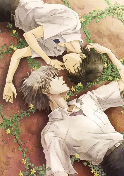 Tags: Anime, Kamamoto (Monotonecolor), Neon Genesis Evangelion, Ikari Shinji, Nagisa Kaworu, Four-leaf Clover, Mobile Wallpaper, KawoShin