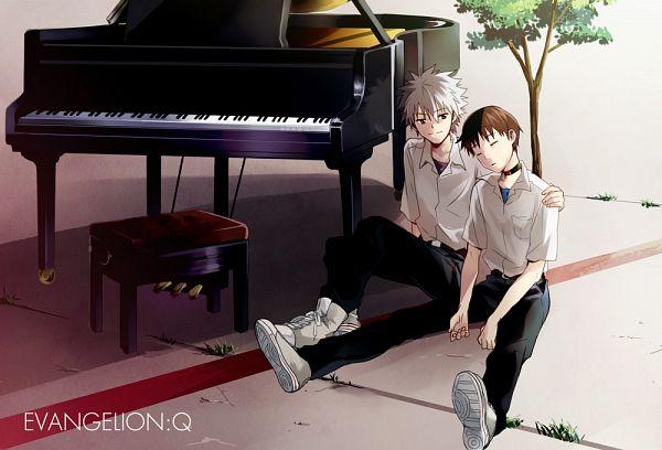 Tags: Anime, Fujishima Akira, Neon Genesis Evangelion, Nagisa Kaworu, Ikari Shinji, Pixiv, Fanart, KawoShin