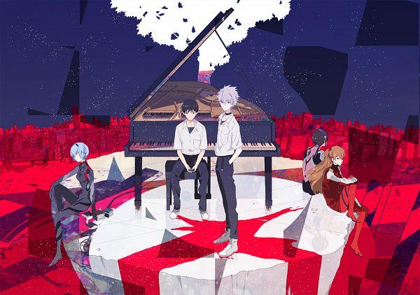 Tags: Anime, Okazaki Oka, Neon Genesis Evangelion, Ayanami Rei, Makinami Mari Illustrious, Nagisa Kaworu, Souryuu Asuka Langley, Ikari Shinji, Pixiv, Fanart