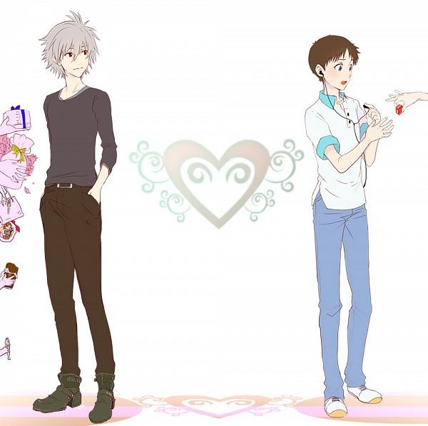 Tags: Anime, Pixiv Id 5805744, Neon Genesis Evangelion, Nagisa Kaworu, Ikari Shinji, Pink Skin, Holding Gift, Fanart, Pixiv, KawoShin