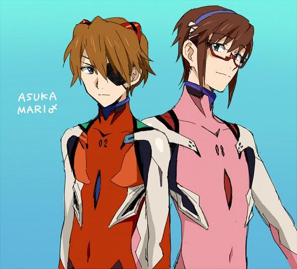 Tags: Anime, Mosako, Neon Genesis Evangelion, Souryuu Asuka Langley, Makinami Mari Illustrious, Under Rim Glasses, Fanart From Pixiv, Fanart, Pixiv