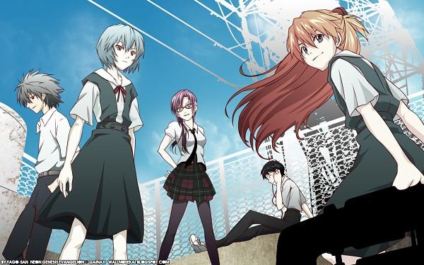 Tags: Anime, Neon Genesis Evangelion, Makinami Mari Illustrious, Nagisa Kaworu, Souryuu Asuka Langley, Ikari Shinji, Ayanami Rei, Wallpaper, Fanmade Wallpaper, Edited