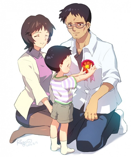 Tags: Anime, Matsuki_ringo, Neon Genesis Evangelion, Ikari Shinji, Ikari Yui, Ikari Gendou, Pixiv, Fanart