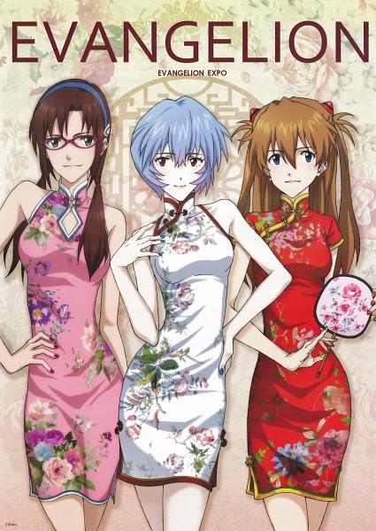 Tags: Anime, Gainax, Neon Genesis Evangelion, Ayanami Rei, Souryuu Asuka Langley, Makinami Mari Illustrious, Artist Request, Scan, Official Art, Mobile Wallpaper