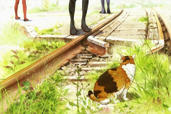 Tags: Anime, Neon Genesis Evangelion, Ikari Shinji, Ayanami Rei, Souryuu Asuka Langley, Legs, Scan, Official Art