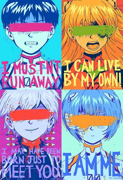 Tags: Anime, Traptastic, Neon Genesis Evangelion, Ikari Shinji, Ayanami Rei, Souryuu Asuka Langley, Nagisa Kaworu, Mobile Wallpaper, Fanart