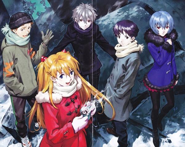 Tags: Anime, Yoshiyuki Sadamoto, Neon Genesis Evangelion, Nagisa Kaworu, Ikari Shinji, Ayanami Rei, Souryuu Asuka Langley, Suzuhara Touji, Trench Coat, Steam, Manga Color, Scan, Official Art