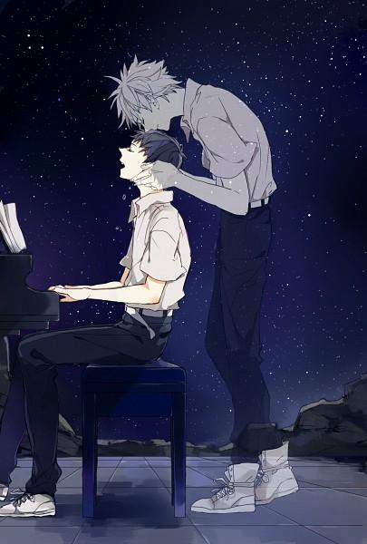 Tags: Anime, Mon (Pixiv3333736), Neon Genesis Evangelion, Nagisa Kaworu, Ikari Shinji, Playing Piano, Transparent Body, Kiss on the Head, Pixiv, Fanart From Pixiv, Mobile Wallpaper, Revision, Fanart