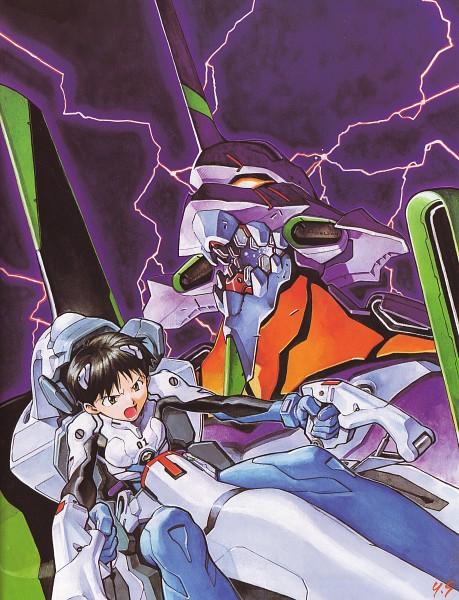 Tags: Anime, Yoshiyuki Sadamoto, Neon Genesis Evangelion, Der Mond, Eva 01, Ikari Shinji, Official Art, Scan