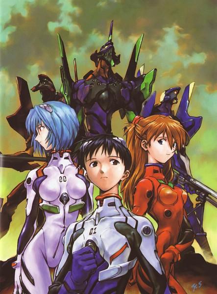 Tags: Anime, Yoshiyuki Sadamoto, Neon Genesis Evangelion, Der Mond, Ayanami Rei, Eva 01, Eva 02, Eva 00, Ikari Shinji, Souryuu Asuka Langley, Official Art, Scan, Mobile Wallpaper