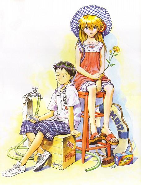 Tags: Anime, Yoshiyuki Sadamoto, Neon Genesis Evangelion, Der Mond, Ikari Shinji, Souryuu Asuka Langley, Official Art, Mobile Wallpaper, Scan