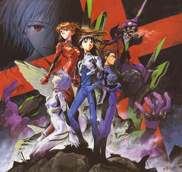Tags: Anime, Yoshiyuki Sadamoto, Neon Genesis Evangelion, Der Mond, Suzuhara Touji, Souryuu Asuka Langley, Nagisa Kaworu, Eva 01, Ikari Shinji, Ayanami Rei, Scan, Official Art