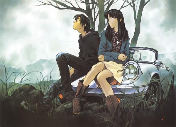 Tags: Anime, Yoshiyuki Sadamoto, Gainax, Neon Genesis Evangelion, Die Sterne, Carmine (Artbook), Katsuragi Misato, Kaji Ryoji, Scan, Official Art, Wallpaper