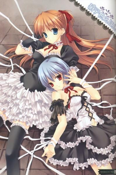 Tags: Anime, Tatekawa Mako, WNB Mark, Neon Genesis Evangelion, Souryuu Asuka Langley, Ayanami Rei, Mobile Wallpaper, Fanart