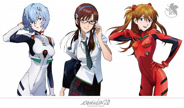 Tags: Anime, Matsubara Hidenori, Gainax, Neon Genesis Evangelion, Souryuu Asuka Langley, Ayanami Rei, Makinami Mari Illustrious, Scan, Official Art, Wallpaper