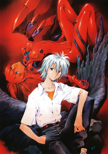 Tags: Anime, Yoshiyuki Sadamoto, Neon Genesis Evangelion, Carmine (Artbook), Nagisa Kaworu, Eva 02, Souryuu Asuka Langley, Mobile Wallpaper, Scan, Official Art