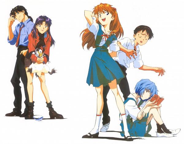 Tags: Anime, Hiramatsu Tadashi, Gainax, Neon Genesis Evangelion, Die Sterne, Ikari Shinji, Pen², Katsuragi Misato, Kaji Ryoji, Ayanami Rei, Souryuu Asuka Langley, Pet, Official Art