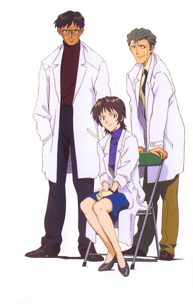 Tags: Anime, Hiramatsu Tadashi, Gainax, Neon Genesis Evangelion, Die Sterne, Fuyutsuki Kouzou, Ikari Yui, Ikari Gendou, Official Art, Scan