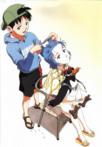 Tags: Anime, Kazuya Tsurumaki, Neon Genesis Evangelion, Die Sterne, Ikari Shinji, Ayanami Rei, Pen², Cutting Hair, Flip Flops, Scan, Official Art, Mobile Wallpaper