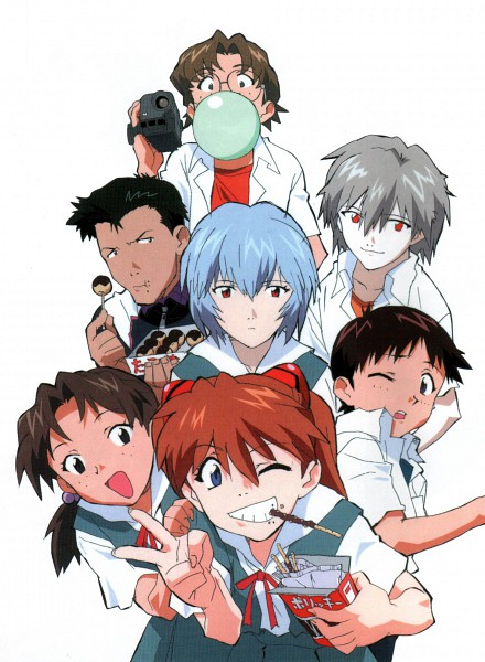 Tags: Anime, Morioka Hideyuki, Neon Genesis Evangelion, Die Sterne, Souryuu Asuka Langley, Ikari Shinji, Aida Kensuke, Horaki Hikari, Ayanami Rei, Suzuhara Touji, Nagisa Kaworu, Scan, Official Art