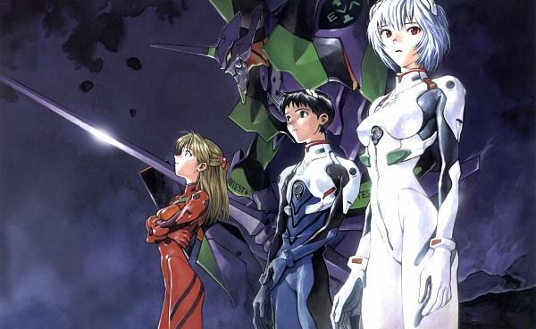 Tags: Anime, Yoshiyuki Sadamoto, Neon Genesis Evangelion, Der Mond, Ikari Shinji, Souryuu Asuka Langley, Ayanami Rei, Eva 01, Wallpaper, Official Art
