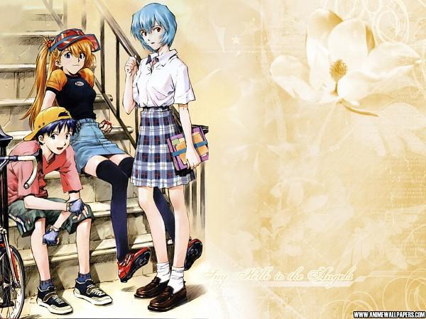 Tags: Anime, Rei (Artist), Neon Genesis Evangelion, Ikari Shinji, Ayanami Rei, Souryuu Asuka Langley, Wallpaper